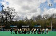 6 April 2014; Both teams shake hands before the match. Irish Senior Women's Hockey League Final, UCD v Railway Union, Banbridge Hockey Club, Banbridge, Co. Antrim.  Picture credit: Ramsey Cardy / SPORTSFILE