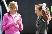 6 April 2014; Catherina McKiernan, left, and Fionnuala Britton, Kilcoole AC, in conversation after the SPAR Great Ireland Run 2014. Phoenix Park, Dublin. Picture credit: Pat Murphy / SPORTSFILE - read more