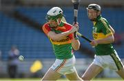 6 April 2014; Marty Kavanagh, Carlow, scores his second goal against Kerry. Allianz Hurling League, 2A Final, Kerry v Carlow, Semple Stadium, Thurles, Co. Tipperary. Picture credit: Matt Browne / SPORTSFILE