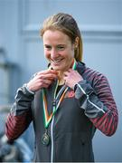 6 April 2014; Fionnuala Britton, Kilcoole AC, with her AAI Women's National 10k Championship medal after the SPAR Great Ireland Run 2014. Phoenix Park, Dublin. Picture credit: Pat Murphy / SPORTSFILE - read more