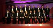25 November 2005; The 2005 Vodafone All-Stars Hurling team back, from left, Jerry O' Connor, Cork, Paul Kelly, Tipperary, Ben O'Connor, Cork, Henry Shefflin, Kilkenny, Tommy Walsh, Kilkenny, Derek Hardiman, Galway, Eoin Kelly, Tipperary, Damien Hayes, Galway, Davy Fitzgerald, Clare.Front, from left, Sean Og O'hAilpin, Cork, John Gardiner, Cork,  Ger Farragher, Galway,  Noel Dempsey, TD, Minister for Communications, Marine and Natural Resources, Teresa Elder, Chief Executive, Vodafone Ireland, GAA President Sean Kelly, Ollie Canning, Galway, Diarmuid O'Sulluvan  at the 2005 Vodafone GAA All-Star Awards. Citywest Hotel, Dublin. Picture credit: Brendan Moran / SPORTSFILE