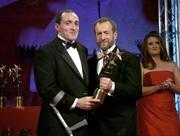 25 November 2005; Brian Dooher, from Tyrone, is presented with his Vodafone All-Star award by Sean Kelly, President of the GAA, at the 2005 Vodafone GAA All-Star Awards. Citywest Hotel, Dublin. Picture credit: Brendan Moran / SPORTSFILE
