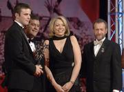 25 November 2005; David Collins, of Galway, is presented with the Young Hurler of the Year by Teresa Elder, Chief Executive, Vodafone Ireland and Noel Dempsey, TD, Minister for Communications, Marine and Natural Resources, and Sean Kelly, President of the GAA, at the 2005 Vodafone GAA All-Star Awards. Citywest Hotel, Dublin. Picture credit: Ray McManus / SPORTSFILE