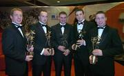 25 November 2005; Kilkenny award winners, from left, Ollie Canning, Ger Farragher, Derek Hardiman, Young Player of the Year David Collins, and Damien Hayes at the 2005 Vodafone GAA All-Star Awards. Citywest Hotel, Dublin. Picture credit: Brendan Moran / SPORTSFILE