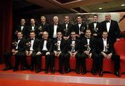 25 November 2005; At the 2005 Vodafone GAA All-Star Awards, were, back from left, Brian Dooher, Peter Canavan, Owen Mulligan, all Tyrone, Michael Greenan, Chairman of the Ulster Council, Stephen O'Neill, Tyrone, Aaron Kernan, Andy Mallon, both Armagh and Armagh manager Joe Kernan, and front, from left, Conor Gormley, Sean Cavanagh, both Tyrone, Tyrone manager Mickey Harte, Philip Jordan, Ryan McMenamin, both Tyrone, Paul McGrane ad Steven McDonnell, both Armagh. Citywest Hotel, Dublin. Picture credit: Ray McManus / SPORTSFILE