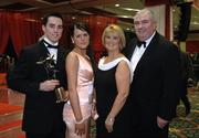25 November 2005; Young Player of the Year Aaron Kernan, left, with Marian Waters and his parents Patricia and Joe Kernan at the 2005 Vodafone GAA All-Star Awards. Citywest Hotel, Dublin. Picture credit: Ray McManus / SPORTSFILE