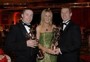 25 November 2005; Damien Hayes with Helena Hayes and Ollie Canning at the 2005 Vodafone GAA All-Star Awards. Citywest Hotel, Dublin. Picture credit: Ray McManus / SPORTSFILE