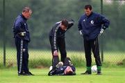 2 June 1999; Goalkeeping coaches Séamus McDonagh, left, and Packie Bonnar and goalkeeper Alan Kelly attend to Shay Given after he picked up an injury during a Republic of Ireland training session at the AUL Complex in Clonshaugh, Dublin. Photo by Ray McManus/Sportsfile