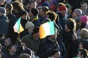 26 November 2005; Fans fly their flags. permanent tsb International Friendly 2005-2006, Ireland v Romania, Lansdowne Road, Dublin. Picture credit: Brian Lawless / SPORTSFILE