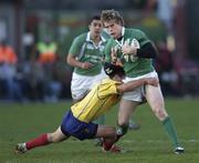26 November 2005; Andrew Trimble, Ireland, is tackled by Petre Mitu, Romania. permanent tsb International Friendly 2005-2006, Ireland v Romania, Lansdowne Road, Dublin. Picture credit: Brian Lawless / SPORTSFILE