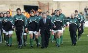 26 November 2005; Eddie O'Sullivan, Ireland head coach, pictured with his players before the start of the game against Romania. permanent tsb International Friendly 2005-2006, Ireland v Romania, Lansdowne Road, Dublin. Picture credit: Matt Browne / SPORTSFILE