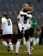 4 December 2005; Sonia Hoey, Dundalk, celebrates with team-mate Bronagh Malone after scoring her sides winning goal. WFAI Cup Final, Lansdowne Road, Dublin. Picture credit: Brian Lawless / SPORTSFILE