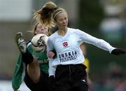 4 December 2005; Sonia Hoey, Dundalk, in action against Katie Taylor, Peamount United. WFAI Cup Final, Lansdowne Road, Dublin. Picture credit: Brian Lawless / SPORTSFILE