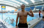 7 April 2014; Minister for Transport, Tourism & Sport Leo Varadkar, TD, after participating in the Dublin leg of the Swim for a Mile Challenge at the National Aquatic Centre, Dublin. Picture credit: Paul Mohan / SPORTSFILE - read more