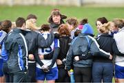 6 April 2014; Monaghan manager John Morrison speaks with the Monaghan squad. TESCO Ladies National Football League, Round 7, Mayo v Monaghan, James Stephen's Park, Ballina, Co. Mayo. Picture credit: David Maher / SPORTSFILE