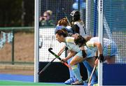6 April 2014; UCD prepare to defend a penalty corner. Irish Senior Women's Hockey League Final, UCD v Railway Union, Banbridge Hockey Club, Banbridge, Co. Antrim.  Picture credit: Ramsey Cardy / SPORTSFILE
