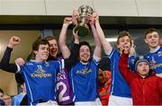 9 April 2014; Cavan's Dara McVitty, Brian Sankey, Conor Moynagh, Kevin Bouchier and Barry Fortune lift the Irish News Cup. Cadbury Ulster GAA Football U21 Championship Final, Cavan v Donegal, Athletic Grounds, Armagh. Picture credit: Oliver McVeigh / SPORTSFILE