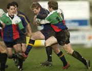 30 December 2005; David McAllister, Leinster A, is tackled by Fionn Carr, Ireland U21. Challenge Game, Ireland U21 v Leinster A, Blackrock College RFC, Stradbrook Road, Dublin. Picture credit: Brian Lawless / SPORTSFILE