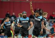 12 April 2014; Leone Nakarawa, right, and Josh Strauss, Glasgow Warriors, celebrate at the final whistle after victory over Munster. Celtic League 2013/14 Round 19, Munster v Glasgow Warriors, Thomond Park, Limerick. Picture credit: Diarmuid Greene / SPORTSFILE