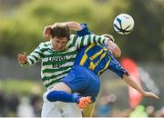 13 April 2014; Darren Dunne, Sheriff YC, in action against Jimmy Carr, St. Michaels FC. FAI Junior Cup Semi-Final, sponsored by Aviva and Umbro, St. Michaels FC v Sheriff YC, Clonmel, Co. Tipperary. Picture credit: Matt Browne / SPORTSFILE