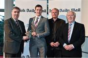 14 April 2014; Brian Kelly, UCC and Kerry footballer, is presented with his Irish Daily Mail Future Champions Award award by, from left to right, Gerry Tully, Chairman Comhairle Ardoideachais, Teddy McCarthy, former Cork dual star and Irish Daily Mail columnist, and Robert Frost, Munster Council Chairman. Irish Daily Mail Future Champions Awards 2014, Devere Hall, UCC Student Centre, UCC, Cork. Picture credit: Diarmuid Greene / SPORTSFILE