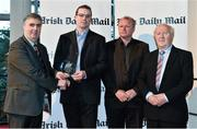 14 April 2014; Representing UUJ footballers Barry Tierney, Luke Keaney, Niall McKeever and Ronan O'Neill is Paul Rouse, UUJ GAA, as he is presented with their Irish Daily Mail Future Champions Award award by, from left to right, Gerry Tully, Chairman Comhairle Ardoideachais, Teddy McCarthy, former Cork dual star and Irish Daily Mail columnist, and Robert Frost, Munster Council Chairman. Irish Daily Mail Future Champions Awards 2014, Devere Hall, UCC Student Centre, UCC, Cork. Picture credit: Diarmuid Greene / SPORTSFILE