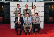 14 April 2014; Irish Daily Mail Future Champions Award winners, all from Cork, top row, footballers Ian Maguire, left, Conor Dorman, centre, and Tom Clancy. Front row, hurlers Eoin Keane, left, Tomas Lawrence, centre, and John Cronin. Irish Daily Mail Future Champions Awards 2014, Devere Hall, UCC Student Centre, UCC, Cork. Picture credit: Diarmuid Greene / SPORTSFILE