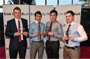 14 April 2014; Irish Daily Mail Hurling Future Champions Award winners, all from CIT, from left to right, Eoin Keane, Tomas Lawrence, John Cronin and John O'Dwyer. Irish Daily Mail Future Champions Awards 2014, Devere Hall, UCC Student Centre, UCC, Cork. Picture credit: Diarmuid Greene / SPORTSFILE