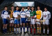 15 April 2014; Electric Ireland linked up with current All-Ireland minor title holders Shane Ryan, from Waterford, and Cian Hanley, from Mayo, to launch the 2014 Electric Ireland GAA hurling and football All-Ireland Minor Championships. The players shared their experience of winning an All-Ireland medal in Croke Park with their senior hurling and football counterparts Michael 'Brick' Walsh and Aidan O'Shea who have both come close but failed to win in recent years. Pictured are, from left to right, Barry MCGinn, Monaghan, Darragh Joyce, Kilkenny, Shane Ryan, Waterford, Michael 'Brick' Walsh, Waterford, Aidan O'Shea, Mayo, Cian Hanley, Mayo, Ryan McNulty, Antrim, and Paul Mescal, Kildare. Croke Park, Dublin. Picture credit: David Maher / SPORTSFILE