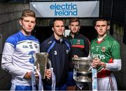 15 April 2014; Electric Ireland linked up with current All-Ireland minor title holders Shane Ryan, from Waterford, and Cian Hanley, from Mayo, to launch the 2014 Electric Ireland GAA hurling and football All-Ireland Minor Championships. The players shared their experience of winning an All-Ireland medal in Croke Park with their senior hurling and football counterparts Michael 'Brick' Walsh and Aidan O'Shea who have both come close but failed to win in recent years. Pictured are from left to right, Shane Ryan, Waterford, Michael 'Brick' Walsh, Waterford, Aidan O'Shea, Mayo, and Cian Hanley, Mayo. Croke Park, Dublin. Picture credit: David Maher / SPORTSFILE