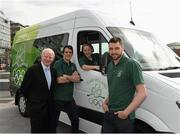 16 April 2014; The Olympic Council of Ireland has been presented with a new Mercedes-Benz Sprinter van by the International Olympic Committee as part of the IOC's Olympic Solidarity programme. The new van is for use by the many national sports federations accredited to the Olympic Council of Ireland. Pictured at the presentation are Pat Hickey, President of the Olympic Council of Ireland, Darren O'Neill, Chairperson of the Olympic Athletes Commission, Nicole Cronin, Olympic Council of Ireland, and Barry Murphy, Olympic Council of Ireland Swimming. Grand Canal Plaza, Dublin. Picture credit: Barry Cregg / SPORTSFILE - read more