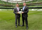 17 April 2014; David Nucifora, left, IRFU Performance Director with IRFU Chief Executive Philip Browne. Aviva Stadium, Lansdowne Road, Dublin. Picture credit: Matt Browne / SPORTSFILE