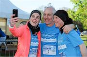 18 April 2014; Ray D'Arcy with twin sisters Mairead and Elaine O'Donovan, from Co. Kilkenny, before the start of The Ray D'Arcy Show Half Million Half Marathon for LauraLynn Children's Hospice, Phoenix Park, Dublin. Picture credit: Tomás Greally / SPORTSFILE