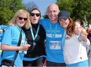 18 April 2014; Ray D'Arcy with, from left, Jane McKenna from LauraLynn Children's Hospice, Jenny Kelly and Mairead Farrell after completing The Ray D'Arcy Show Half Million Half Marathon for LauraLynn Children's Hospice, Phoenix Park, Dublin. Picture credit: Tomás Greally / SPORTSFILE