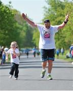 18 April 2014; James Morgan with his daughter Kaydi, aged four, in action during The Ray D'Arcy Show Half Million Half Marathon for LauraLynn Children's Hospice, Phoenix Park, Dublin. Picture credit: Tomás Greally / SPORTSFILE