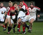 27 January 2006; Kieran Campbell, Ulster, is tackled by Tal Selley, Llanelli Scarlets. Celtic League 2005-2006, Group A, Ulster v Llanelli Scarlets, Ravenhill, Belfast. Picture credit: Oliver McVeigh / SPORTSFILE