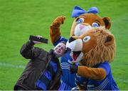 18 April 2014; A fan takes a 'selfie' with Leo the Lion and Leona the Lioness, Leinster. Celtic League 2013/14 Round 20, Leinster v Benetton Treviso, RDS, Ballsbridge, Dublin. Picture credit: Ramsey Cardy / SPORTSFILE