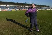 29 January 2006; Wexford goalkeeper Damien Fitzhenry stands for the National Anthem. Walsh Cup, Dublin v Wexford, Parnell Park, Dublin. Picture credit: Brian Lawless / SPORTSFILE