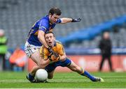 26 April 2014; Shane Hickey, Clare, in action against Barry Grogan, Tipperary. Allianz Football League Division 4 Final, Tipperary v Clare, Croke Park, Dublin. Picture credit: Barry Cregg / SPORTSFILE