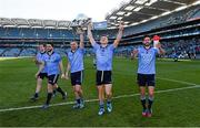 27 April 2014; Dublin players, Darragh Nelson, Bernard and Alan Brogan, Paul Flynn and Cian O'Sullivan, celebrate with the cup after the game. Allianz Football League Division 1 Final, Dublin v Derry, Croke Park, Dublin. Picture credit: Ray McManus / SPORTSFILE