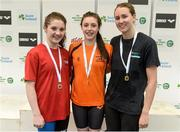 26 April 2014; Medallists in the Women's 400m Freestyle, from left, Rachel Bethel, silver, Lisburn swimming club, Antoinette Neamt, gold, Tallaght swimming club, and Therese Corry, bronze, Portmarnock swimming club, at the 2014 Irish Long Course National Championships. National Aquatic Centre, Abbotstown, Dublin. Picture credit: Paul Mohan / SPORTSFILE