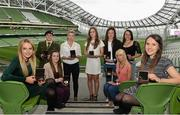30 April 2014; Winners of the Bus Eireann Women's National League Team of the Year for the 2013-14 season, from left, Julie Ann Russell, Peamount United, Sinead Taylor, Galway, Niamh Reid, Raheny United, Lynsey McKey, Galway, Emma Hansberry, Castlebar Celtic, Jessica Glesson, Wexford Youths Women, Stephanie Roche, Peamount United, Aine O'Gorman, Peamount United, and Ciara Grant, Raheny United. Bus Eireann Women's National League Awards, Aviva Stadium, Lansdowne Road, Dublin. Picture credit: David Maher / SPORTSFILE