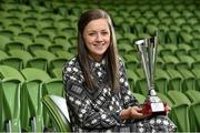 30 April 2014; Katie McCabe, Raheny United, winner of  the Bus Eireann Women's National League Young Player of the Year Award. Bus Eireann Women's National League Awards, Aviva Stadium, Lansdowne Road, Dublin. Picture credit: David Maher / SPORTSFILE