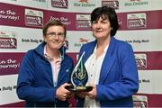 30 April 2014; Sylvia Gee, left, is presented with the Bus Eireann Women's National League Hall of Fame Award by Frances Smith, Treasurer of the WFAI. Bus Eireann Women's National League Awards, Aviva Stadium, Lansdowne Road, Dublin. Picture credit: David Maher / SPORTSFILE