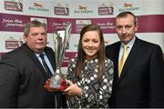 30 April 2014; Katie McCabe, Raheny United, is presented with the Bus Eireann Women's National League Young Player of the Year Award by Eamon Naughton, left, Chairman of the SSE Airtricity League, and Martin Nolan, Chief Executive of Bus Eireann. Bus Eireann Women's National League Awards, Aviva Stadium, Lansdowne Road, Dublin. Picture credit: David Maher / SPORTSFILE