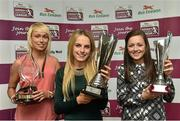30 April 2014; Winners at the Bus Eireann Women's National League Awards, from left, Stephanie Roche, Peamount United, winner of the Irish Daily Mail Golden Boot Award, Julie Ann Russell, Peamount United, winner of the Bus Eireann Women's National League  Player of the Year Award, and Katie McCabe, Raheny United, winner of the Bus Eireann Women's National League Young Player of the Year Award. Bus Eireann Women's National League Awards, Aviva Stadium, Lansdowne Road, Dublin. Picture credit: David Maher / SPORTSFILE