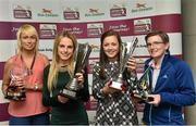 30 April 2014; Winners at the Bus Eireann Women's National League Awards, from left, Stephanie Roche, Peamount United, winner of the Irish Daily Mail Golden Boot Award, Julie Ann Russell, Peamount United, winner of the Bus Eireann Women's National League Player of the Year Award, Katie McCabe, Raheny United, winner of the Bus Eireann Women's National League Young Player of the Year Award, and Sylvia Gee, winner of the Bus Eireann Women's National League Hall of Fame Award. Bus Eireann Women's National League Awards, Aviva Stadium, Lansdowne Road, Dublin. Picture credit: David Maher / SPORTSFILE