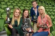 30 April 2014; Winners at the Bus Eireann Women's National League Awards, from left, Julie Ann Russell, Peamount United, winner of the Bus Eireann Women's National League  Player of the Year Award, Katie McCabe, Raheny United, winner of the Bus Eireann Women's National League Young Player of the Year Award, Sylvia Gee, winner of the Bus Eireann Women's National League Hall of Fame Award, and Stephanie Roche, Peamount United, winner of the Irish Daily Mail Golden Boot Award. Bus Eireann Women's National League Awards, Aviva Stadium, Lansdowne Road, Dublin. Picture credit: David Maher / SPORTSFILE