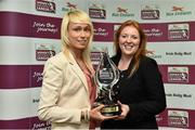 30 April 2014; Stephanie Roche, Peamount United, is presented with the Irish Daily Mail Golden Boot Award for the Bus Eireann Women's National League by Sinead Lambe, Irish Daily Mail, Marketing Manager. Bus Eireann Women's National League Awards, Aviva Stadium, Lansdowne Road, Dublin. Picture credit: David Maher / SPORTSFILE