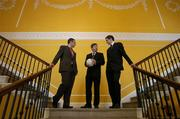 13 February 2006; At a photocall ahead of the AIB All-Ireland Club Football Championship semi-finals, were, from left, Ciaran Kelleher, Kilmacud Crokes, Billy Finn, General Manager, AIB, and Maurice Sheridan, Salthill-Knocknacarra. Ely Place, Dublin. Picture credit; Brendan Moran / SPORTSFILE